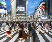 People crossing at Shibuya at dusk.